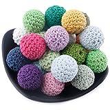 Mamimami Home 歯がため 木製 知育玩具 はがため かぎ針編みのビーズ 16MM/50個 26色混合色 赤ちゃん 舐める 安全 コットン 木のおもちゃ 歯固め 出産祝い 誕生日プレゼント DIY アクセサリー「FDA認可済」「BPAフリー」