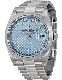 Rolex day-date自動アイスブルーダイヤルプラチナメンズ腕時計228206iblsp