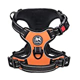 PoyPet No Pull Dog Harness, Reflective Comfortable Vest Harness with Front & Back 2 Leash Attachments and Easy Control Handle for Small Medium Large Dog (Orange, XS)