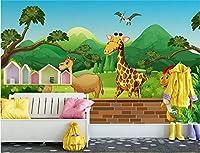 Minyose 3D壁紙カスタムオリジナル漫画フォレストキリン子供部屋幼稚園背景壁壁画-250cmx175cm