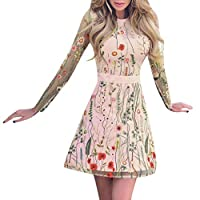 [LOPRUTE]女性のファッション花刺繍パーティードレスレースメッシュ二層ミニドレス