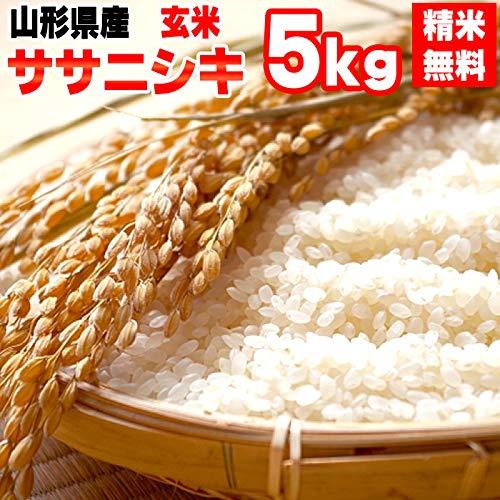 山形県産 ササニシキ 令和元年度産 (玄米 5kg, 無洗米に精米)