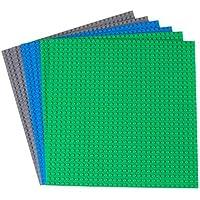 クラシックベースプレート 25.4㎝x25.4㎝、32 x 32ペグStrictly Briks / ストリクトリーブリックス ビルディングブリック ベースプレート他の主要ブランドの製品と100%互換性ありタワーやテーブルなどの組み立てに使えるベースプレート。ー6セット - ブルー、グレー、グリーン