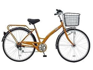 CHACLE(チャクル) 空気入れ不要! ノーパンク自転車 シティサイクル 26インチ [外装6段変速、アーチ型フレーム、LEDオートライト] オレンジ CHN-CC266AC-HD