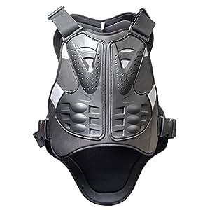 POWSEED 胸部プロテクター 脊椎背面プロテクター ボディプロテクター ベスト 上半身保護 ジャケット 胸、背中、お腹、脊椎、ハード、腰のガード 一体型 耐衝撃吸収 通気性 動きやすい バイク オートバイ 蒸れにくい ブラック フリーサイズ