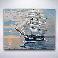 フレームとの番号の壁の装飾の大きい帆船40X50CmによるZDDYXの絵画