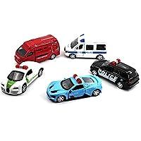 Liebeye アクティブドアを持つノベルティミニ警察車のおもちゃ1:64合金プルバックギフトコレクションのためのおもちゃ車ランダムスタイル 5PCS