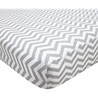 TL Care 100% Cotton Percale Fitted Mini Crib Sheet, Gray Zig Zag, 24 x 38 by TL Care