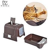 猫用トイレ、ポータブル籐猫用トイレ砂、分離可能な消臭剤 - 内蔵猫用トイレペダル - 自動ポップアップ猫用トイレ砂利 - ゴミ袋を収納できます