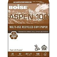 Boise Aspen 100% multi-useリサイクルコピー用紙、8.5X 11、92明るいホワイト、20kg、10Reamカートン( 5, 000枚)