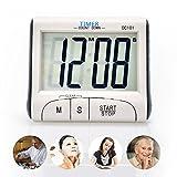 Senbowe デジタルタイマー キッチンタイマー 時計付 マグネット付き 置き掛け両用 ホワイト