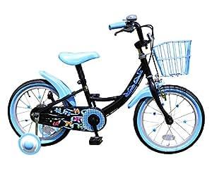 GRAPHIS(グラフィス) 補助輪付き子供用自転車 16インチ リボンカラー GR-16R ブラック×ブルー