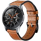 VICARA Compatible Samsung Galaxy Watch (46mm) Bands, Genuine Leather Replacement Band with Stainless Steel Buckle Accessory Wristband Strap Compatible Samsung Galaxy Watch 46mm SM-R800/SM-R805 Smart Watch (B-Brown)