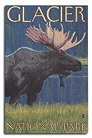 ムースat Night–グレイシャー国立公園、MT 10 x 15 Wood Sign LANT-14218-10x15W