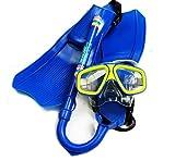 SDblue 子供用シュノーケルセット 6-14歳 シュノーケリング 3点 水泳ゴーグル キッズ マスク・シュノーケル・フィン SD-260 (ブルー)