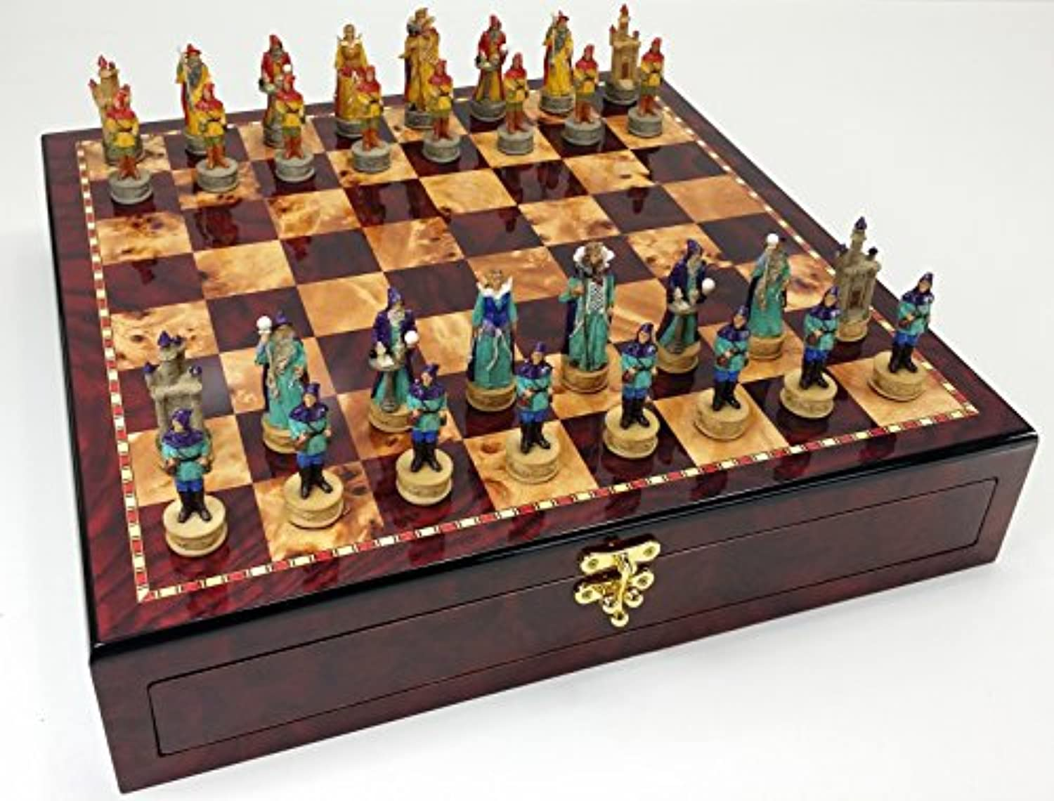 Medieval Times Fantasy Wizards vs Sorcerers Chess Set W/ High Gloss Cherry and Burlwood Color Storage Board 17