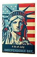 独立記念日の自由の女神像 金属スズヴィンテージ安全標識警告サインディスプレイボードスズサインポスター看板建設現場通りの学校のバーに適した