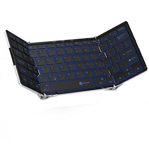 iClever ワイヤレスキーボード 折りたたみ 薄型 フルサイズ 無線&USB接続対応 IOS/Android/Windowsに対応