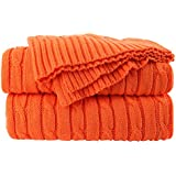 uxcell® 100% Cotton Knitted Throw Blanket Soft Warm Cable Knit Throw Rug Decorative Blanket for Sofa/Couch/Bed,Orange,47 x 70 Inches