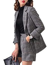 Easonddd セットアップ パンツスーツ 2点セット ジャケット グレンチェック 格子柄 ショートパンツ レトロ シック きれいめ 大きいサイズ お出かけ お呼ばれ 上品