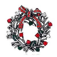 YAZILINDクリスマスブローチピンフラワーリースブートニアラインストーンコサージュクリスマスブレストピンジュエリーギフトシルバー-3