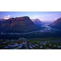 ラパ川、スウェーデン、Sarek国立公園、山、岩 キャンバスの 写真 ポスター 印刷 旅行 風景 景色 - (105cmx70cm)