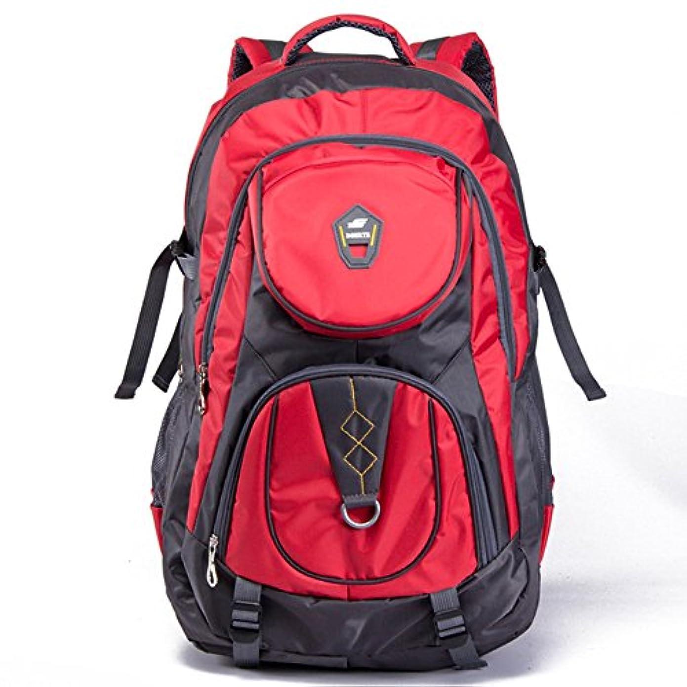 賛辞恐ろしいですジャニスユニセックス 登山バックパック 大容量 多機能 防水 ハイキング 野生のキャンプ レジャースポーツ ニュートラルショルダー 屋外での使用に適しています 軽量野外活動バッグ (色 : 赤)