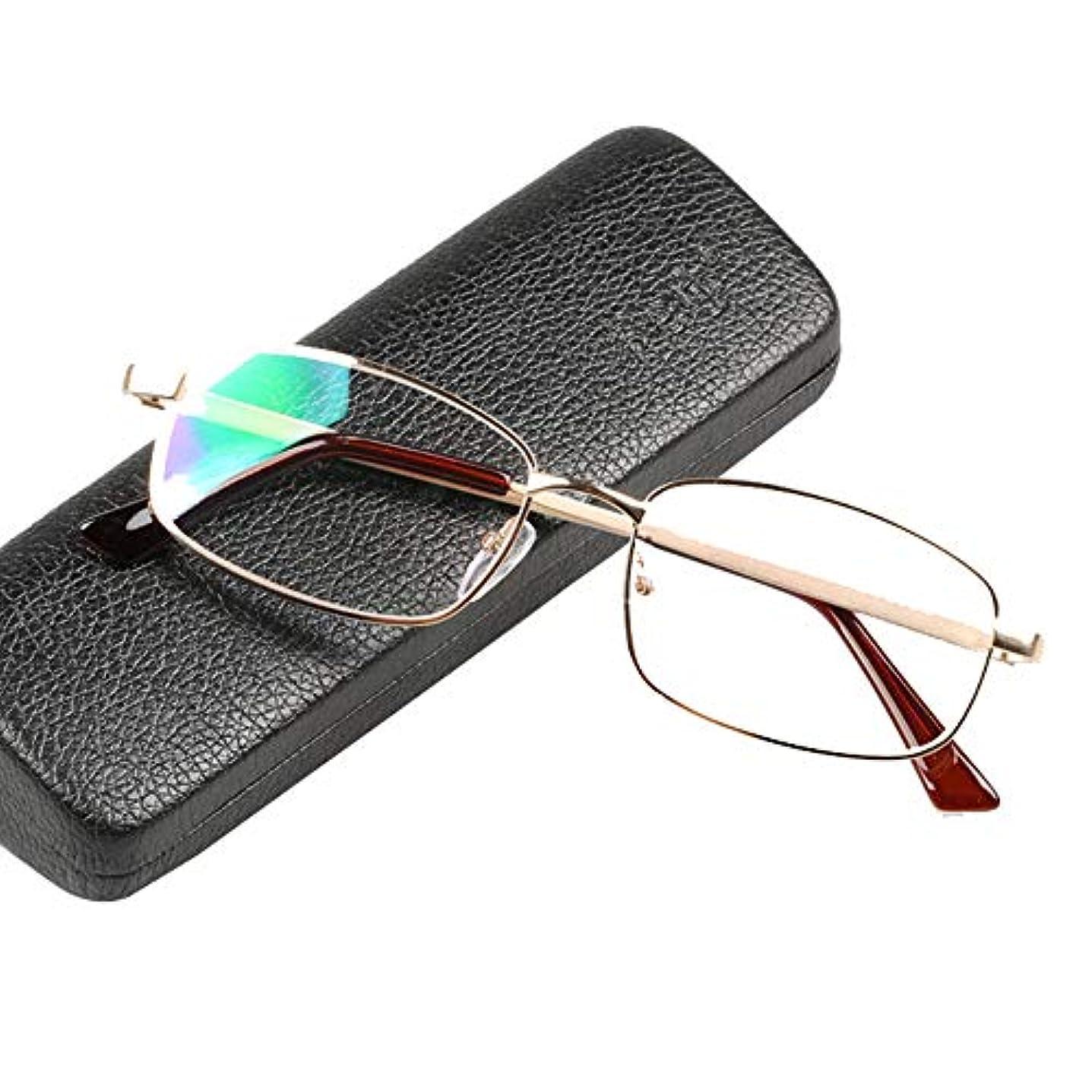 YYQ 老眼鏡、シルバーのコンピューターリーダー、男性と女性用のメタルフレームゴーグル、HDレジンレンズ、携帯用メガネケース付き、視度(+1.0)
