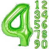 Angel&tribe 番号 0-9 誕生日 パーティー 装飾 ヘリウム 箔 マイラー 大きい 番号 バルーン 40インチ グリーン 番号4