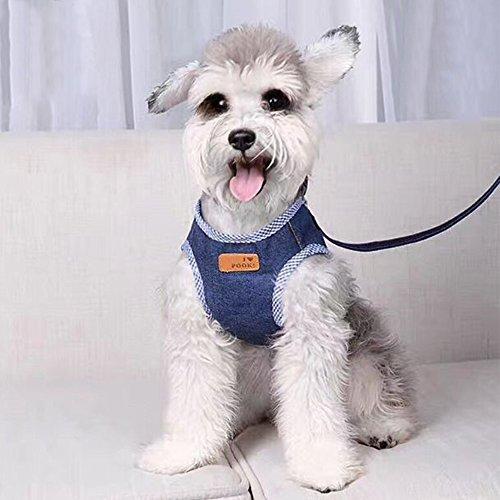 iikuru 犬 ハーネス 小型犬 中型犬 犬用 リード いぬ 胴輪 子犬 引き紐 ペット 首輪 デニム x734