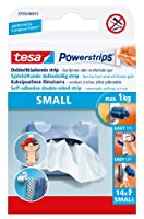 (Small) - tesa UK Powerstrips Small Removable Self Adhesive Strips- 14 Strips