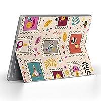 Surface go 専用スキンシール サーフェス go ノートブック ノートパソコン カバー ケース フィルム ステッカー アクセサリー 保護 ユニーク 切手 鳥 カラフル 模様 008271