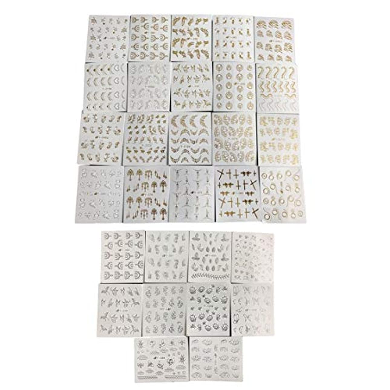 雄弁元気な関係ないフルビューティー30ピースゴールドシルバーネーターウォーターステッパーフェザーフラワーデザインデカール用ネイルデコレーションネイルアートマニキュア