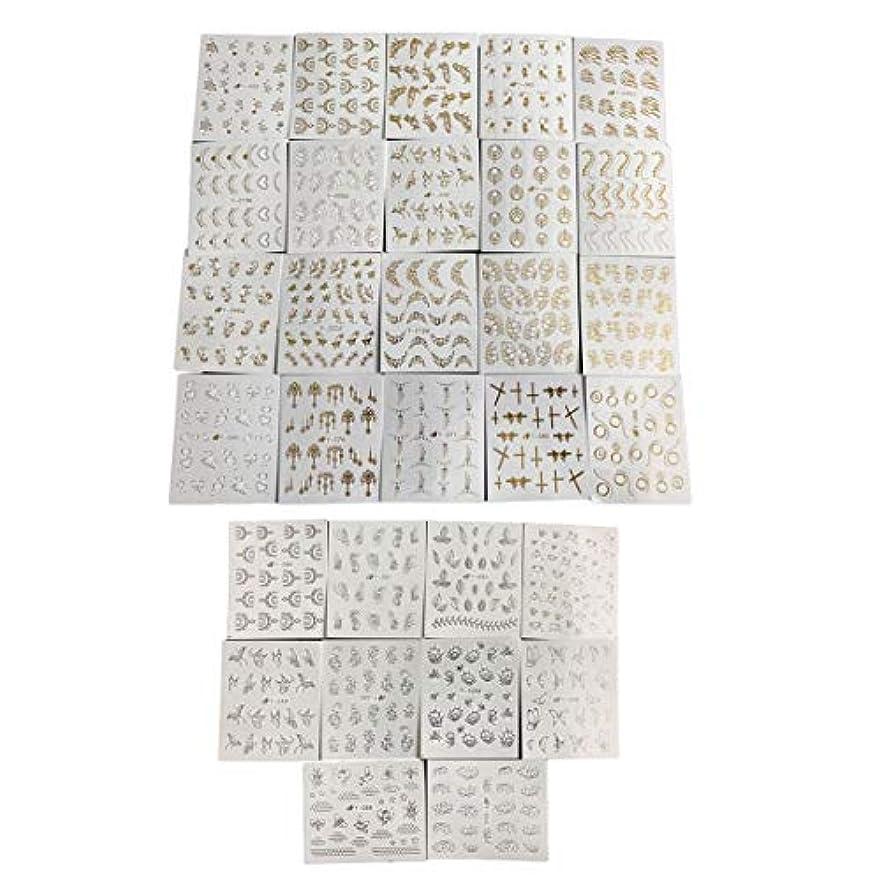放射する完了隠されたフルビューティー30ピースゴールドシルバーネーターウォーターステッパーフェザーフラワーデザインデカール用ネイルデコレーションネイルアートマニキュア