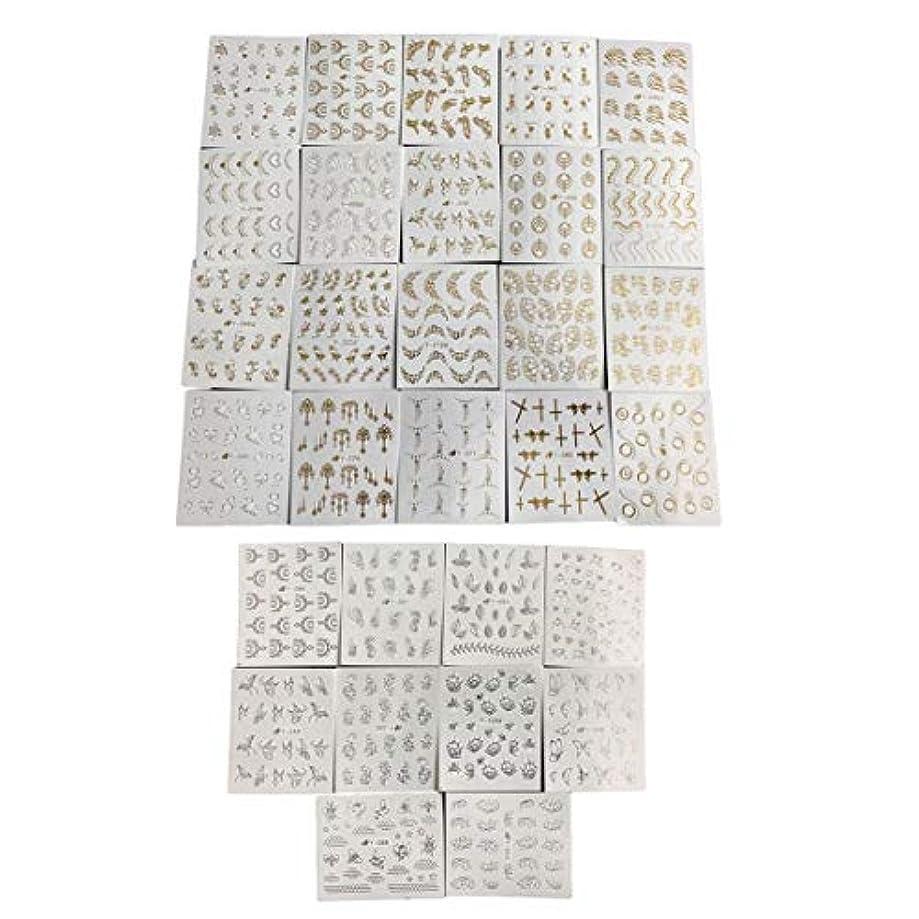 配る崇拝する書店フルビューティー30ピースゴールドシルバーネーターウォーターステッパーフェザーフラワーデザインデカール用ネイルデコレーションネイルアートマニキュア