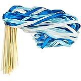 Cieovo 50個パック リボン ワンド クロマティック シルクリボン ベル付き フェアリースティック 願いの杖 ウェディングパーティー活動用 (ブルー)