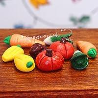 bobominiworld 9 Piecesドールハウスミニチュア装飾1 : 12スケールのクレイミックス野菜の直径0.7 CMミックスカラー