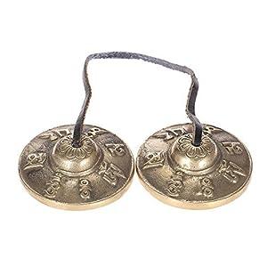 ammoon チベット密教 ティンシャ 2.6in/6.5cm 手作り瞑想ティンシャ シンバルベル メタル製 仏教幸運記号付き ヨガや瞑想に最適