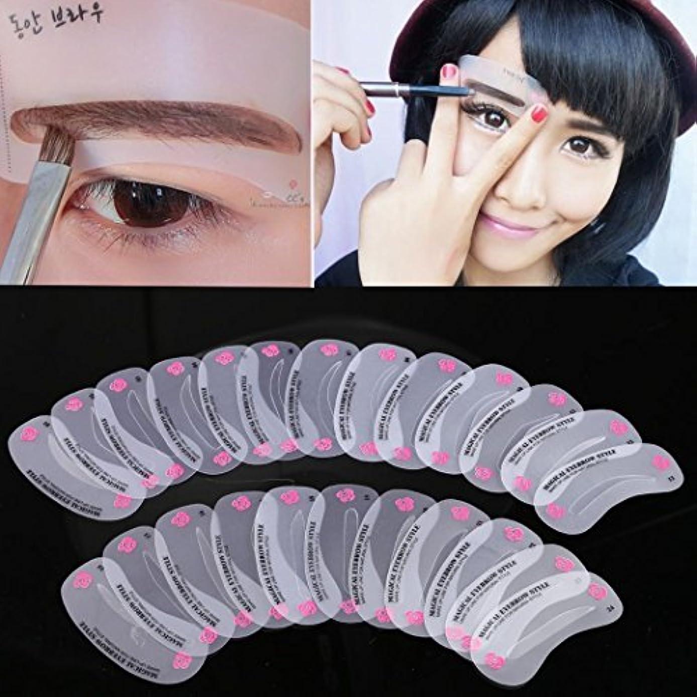 証書クーポン数学的な24種類の眉毛のスタイルは、グルーミングステンシルを設定するメイクアップシェイプキット眉毛