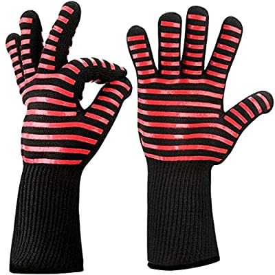 Kitchen Heat Resistant Gloves - Up to 932 °F/500°C Extreme Protection Microwave Oven Mitts with Silicone Coating&Cotton Lining for Barbecue Camp Cooking Grilling Baking,1 Pair