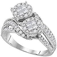 LCD レディース 10カラットホワイトゴールドプリンセスダイヤモンドのクラスタブライダルウェディング婚約指輪1.00 Cttw
