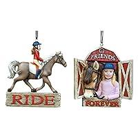 Equestrian Girl Riding Horse Ornament Set Of 2 by Kurt Adler