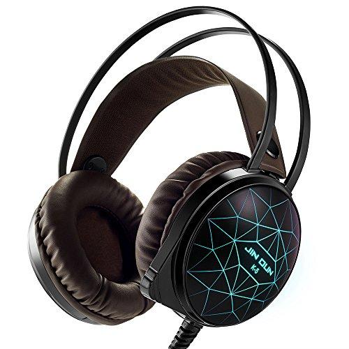 marsboy ゲーム用ヘッドフォン ゲーミングヘッドフォン 3.5mm ゲーミングヘッドセット 高音質 ステレオ LEDライト マイク付き 騒音隔離&音量調節機能 PC/ラップトップなど対応 K5 ブラウン