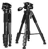 QZSD ビデオ デジタルカメラ Canon Nikon Petax Sonyなど用 運動会 登山 超軽量アルミファイバー製4段 ハンドルのヘッド 三脚 3 WAY 雲台 水準器付き ブライ黒 (1460mm)
