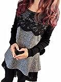 (ヴォンヴァーグ) ventvague上品 胸元 刺繍 花柄 裾 フリル グレー 黒 M L XL チュニック レディース (L, グレー)