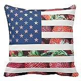 テンプレートの米国のいちごの旗 クッションカバー お部屋のソファー ベッド 車に適用インテリア 背当て 45*45cm ピローケース