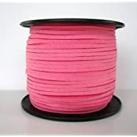 BeadsTreasure Hot Pink Suede Cord Lace Leather Cord For Jewelry Making 3x1.5 mm-20 Feet. by BeadsTreasure