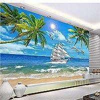 Djskhfカスタム写真壁紙壁画ウォールステッカー宜Y風水ココナッツツリーシービュー風景テレビ壁背景壁 280X200Cm