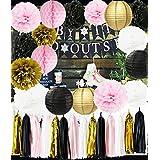 Ooh La La Baby シャワーデコレーション ピンクゴールド ホワイト ブラック パリ パーティー 装飾 ティッシュペーパー ポンポン ハニカムボール/ペーパーランタン 女の子の誕生日デコレーション フランス/パリの誕生日パーティーアイデア
