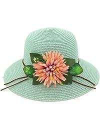 Yaojiaju 夏のストローの帽子、フラワービーチの新しい夏の花ストローの帽子Sunhat広い女性のためのフロッピーのバケットの帽子